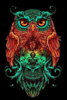 10 Amazing Owl Artwork Creativity Next Level Buho Tattoo, Owl Artwork, Owl Wallpaper, Owl Tattoo Design, Owl Pictures, Art Graphique, Psychedelic Art, Skull Art, Fractal Art