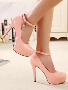 Pink Ankle Strap High Heels Shoes