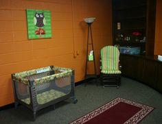 a nursery playroom right off the main reception room