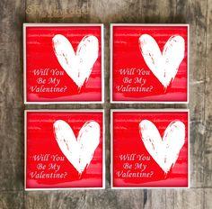 Drink Coaster, Will You Be My Valentine Handmade Design, Heart Ceramic Tiles, Secret Admirer Gift, Valentine's Day Gift, Love, Romantic