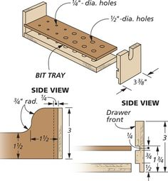 Router Stand: This Easy-to-Build Platform keeps your router and bits ready to go. Diy Projects Garage, Side View Drawing, Router Accessories, Workshop Storage, Wood Router, Baltic Birch Plywood, Wood Tools, Shop Plans, Drawer Fronts