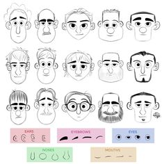 Cartoon Drawings Face making exercice from Luigi Lucarelli - Character Design Tutorial, Character Design Animation, Character Drawing, Character Design Inspiration, Character Illustration, Yoga Inspiration, Drawing Cartoon Characters, Cartoon Sketches, Cartoon Styles