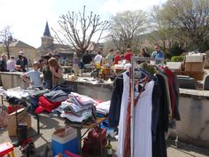 A vide-grenier in Saint-Lupicin near Saint-Claude. A vide-grenier (literally an attic-emptying) is a street jumble sale where just about everything can be found (including the kitchen sink).