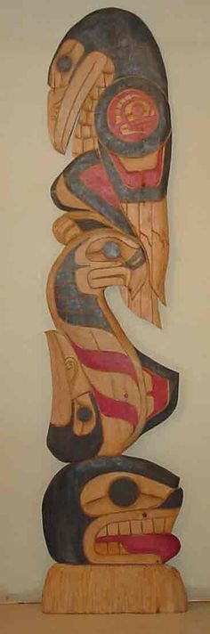 "Long Life, Freedom and Vision through Experience by Herb Rice - 8.5' x 22"" wall totem - white pine"