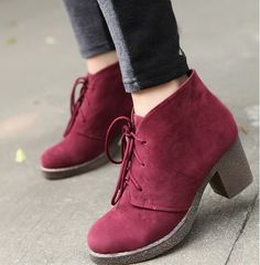 Cheap women shoes thick heel short boots CZ-2008 wine-red - Lovely Fashion