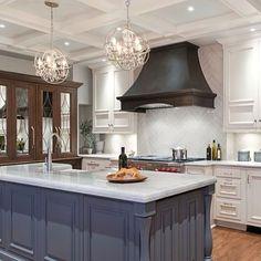 Blue grey brown kitchen