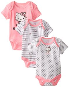Hello Kitty Baby Baby-Girls Newborn 3 Pack Bodysuits, Multi, 6 Months