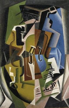 thunderstruck9: Juan Gris (Spanish, 1887-1927), Violon et journal [Violin and newspaper], November 1917. Oil on panel, 92.3 x 60.3 cm.