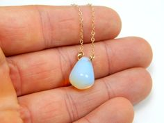 White opal 14 kt gold filled dainty necklace blue shiny by Omoroka