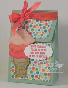 Stampin' Up! Gift Bag Punch Board, Sprinkles of Life & Cherry On Top DSP. Debbie Henderson, Debbie's Designs.