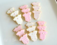 24 Mini Baby Shower Cookies by LizyBsbakeshop on Etsy Onesie Cookies, Baby Cookies, Baby Shower Cookies, Baby Shower Favors, Sugar Cookies, Iced Cookies, Holiday Cookies, White Chocolate Recipes, White Chocolate Mousse