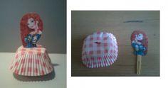 Leuke traktatie voor meisje. Een prinses op cupcake! Dit maken en gewoon boven op een cupcake prikken, heel simpel maar erg leuk!