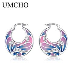 UMCHO Handmade Enamel Flower Clip Earrings for Women Cubic Zircon Fashion Magic Designer Jewelry Party Elegant Wedding Gift – low-priced items from all over the world. Ear Jewelry, Enamel Jewelry, Fine Jewelry, Jewellery, Mother Birthday Gifts, Mother Gifts, Clip On Earrings, Women's Earrings, Silver Earrings