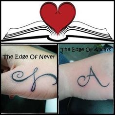 Camryn & Andrew fan, Thatty Cruz, got yet another tattoo, this time of the 'A' on the cover of THE EDGE OF ALWAYS!