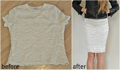 Trash to Couture | Out-dated t shirt into pencil skirt