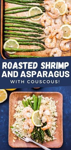 This easy roasted shrimp and asparagus with herbed couscous is a simple dinner ready in only 15 minutes! Easy Delicious Recipes, Easy Chicken Recipes, Easy Dinner Recipes, Healthy Recipes, Healthy Snacks, Skinny Recipes, Healthy Dinners, Dinner Ideas, Yummy Food