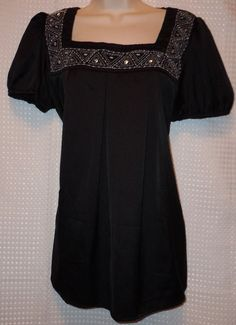 George womens black & white with beads s/s shirt L 12 / 14 #George #Blouse #Casual