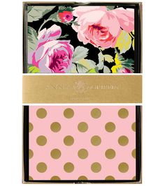 Anna Griffin Grace Black Floral 24 Count Note Cards