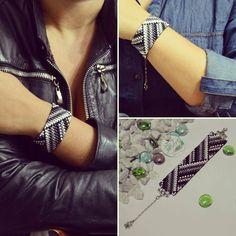 Pulsera Mostacilla checa 2.8cm Black & White #hechoamano #libredeniquel #casual #unbuenregalo Black And White, Beads, Instagram, Casual, Diy, Fashion, Bangles, Hand Made, Accessories