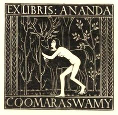 Ex libris of Ananda Coomaraswamy 1920 by eric gill (1882–1940).This bookplate shows Sita -- a character in the Hindu epic The Ramayama -- embracing a golden deer. The bookplate was for a Tamil philosopher and historian who wrote about Indian, Persian and Munghal culture.