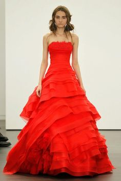 Spring 2012 wedding dresses Vera Wang bridal gown non white dresses red 15