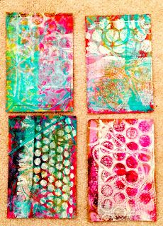 Artelicious: Gelli Stickers. Martha Stewart stickers and some gelli printing is a great combo!