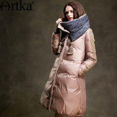 Купить товарArtka 2015 женская ретро новая коллекция зимней одежды стоячем воротником с длинными рукавами  90% утиный пух темно хаки лоскутный высококачественный элегантный удобный длиный пуховик ZK15357D  в категории Пуховики и паркина AliExpress.