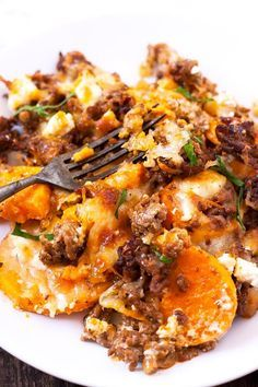 Sweet Potato Mince Casserole with Feta - Cooking Carousel - Advertising. Sweet Potato Mince Casserole with Feta. This recipe is simple and SO deli - Alfredo Casserole Recipe, Casserole Recipes, Potato Casserole, Paleo Recipes, Dinner Recipes, Shrimp Recipes, Potato Recipes, Easy Recipes, Dinner Ideas