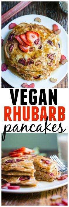 Awesome vegan rhubarb pancakes recipe! Brita Britnell's recipe for delicious, moist, pancakes with fresh rhubarb and banana. The perfect vegan breakfast! Vegan, vegetarian, dairy free. So good! // Rhubarbarians