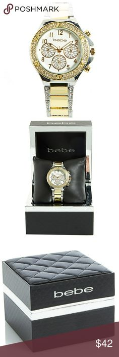 AUTHENTIC BEBE TWO TONE WATCH BRAND NEW Beautiful two tone bebe watch, encrusted in crystals around the face and the stainless steel band with holdover push button clasp.  Comes in a gift box. Stainless Case back Japan Movement 35mm Case Diameter 16mm Band Width bebe Accessories Watches