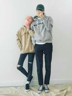 Korean Fashion: Couple Look♥ Great outfit ideas/looks for couples to wear  . Korean Couple Fashion, Korean Fashion Casual, Korean Street Fashion, Korean Outfits, Asian Fashion, Couple Look, Couple Style, Style Ulzzang, Perfect Boyfriend