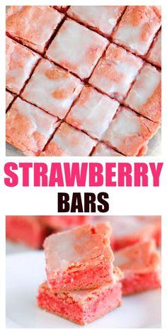 - Strawberry Bars are easy to make. Only 6 ingredients for this Strawberry Bars are easy to make. Only 6 ingredients for this Strawberry Bars, Strawberry Dessert Recipes, Summer Dessert Recipes, Recipe For Strawberry Brownies, Strawberry Sweets, Cake Bars, Köstliche Desserts, Delicious Desserts, Alcoholic Desserts