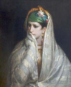 TANGIER MOROCCO WOMAN WITH INCENSE URN OIL PAINTING ART PRINT ON REAL CANVAS