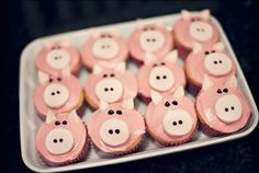 A tray of darling pink piggy cupcakes. #food #pigs #cupcakes