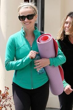 Celebrities Embrace the Yoga Lifestyle.  #ReeseWitherspoon Yoga has great health benefits and is all the rage in Hollywood! For all your eco-friendly yoga needs, shop PureYogi.com!  #pureyogi #yoga #yogi #yogis #eco #ecofashion #ecofriendly #fashion #celebrityyoga #celeb #celebrity