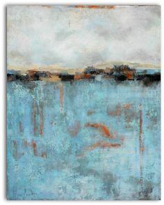 Serendipity, mixed media landscape painting by Diana Mulder - Acrylic, burlap, plaster of paris www.dianamulder.com