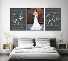 Set of 3 Wedding Vow Canvas Prints Our canvas prints make great and unique gifts for a special wedding, birthday, anniversary, parent thank you, grandparents, godparents, christenings, bridesmaids, maid of honor, sisters, adoptions, graduation, brother, mother, father, bride, groom, aunt, uncle, best friends and more! #ad #etsy #wedding #wallart #homedecor #vows
