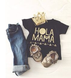 Perfect for a lil princess! Girl Fashion, baby girl fashion, gold crown, baby style, baby ootd. Comes in sizes 3M-6yrs
