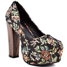 Get your 15 minutes of fame in the Media by Shoe Republic.  A black textile upper is printed with a cute floral print from top to 2 inch platform.  A thick 5 inch block heel gives off an earthy wood appearance and pairs flawlessly with the rest of this lovable silhouette.