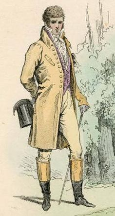 A fine figure of a man in the early 1800s classified as a Dandy. A man who took particular care of his looks and the ancestor of a modern metrosexual.