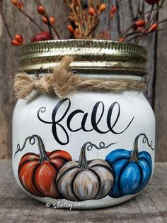 Awesome mason jar tips are offered on our website. look at this and you wont be sorry you did. Mason Jar Pumpkin, Fall Mason Jars, Mason Jar Diy, Mason Jar Crafts, Jar Design, Jar Art, Baby Food Jars, Wine Bottle Crafts, Bottle Art