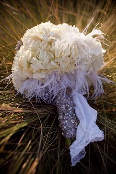 Wedding bouquet- the wrap around the flowers.. Not the flowers or the feathers