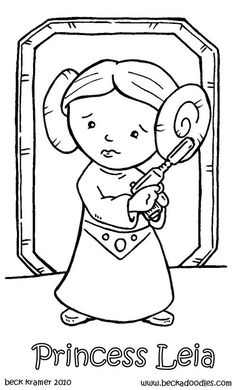 Baby princess leia and luke skywalker star wars painting for Princess leia coloring page
