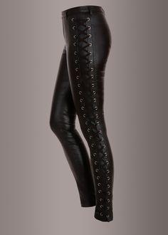 Black Laced Up Shiny Skinny Fit Pants | Pretty Attitude {Black Label} | $59.90