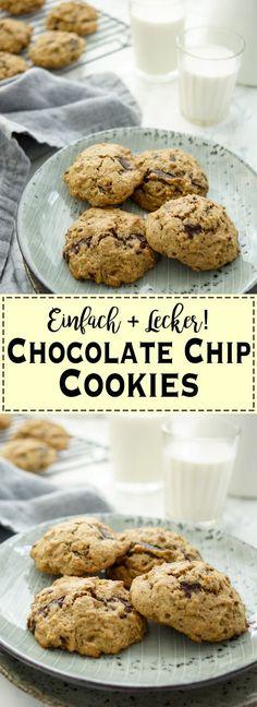 Ein einfaches Rezept für leckere Chocolate Chip Cookies (Kekse) nach amerikanischer Art mit Dinkelmehl, Vollrohrzucker, Buttermilch und Zartbittere Schokolade. Sie müssen nicht zu süß sein, um zu schmecken. Auf jeden Fall müßt Ihr beim Naschen kein schlechtes Gewissen haben! Einfache gesunde Rezepte - Elle Republic
