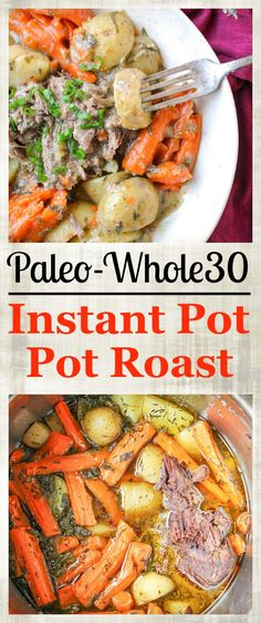 This Paleo Whole30 Instant Pot Pot Roast is tender, flavorful, and so easy to make! The ultimate comfort food, made in so much less time thanks to the pressure cooker. Gluten free, dairy free, and low fodmap. Instant Pot Perfection Pot roast is the ultimate comfort food, and being able to make it