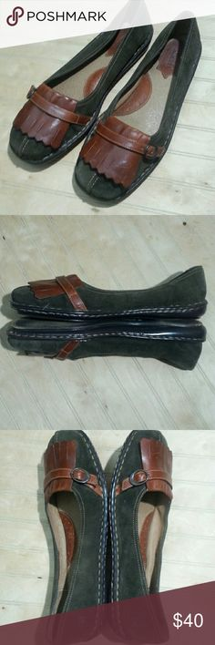 Born Suede Flats Olive suede loafers with brown leather accent buckle. Born is well known for quality and comfort. These handcrafted flats have a leather upper and lining with man made balance. These run a little small. Offers welcome. Born Shoes Flats & Loafers