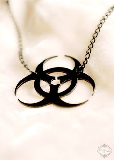 Biohazard Symbol Sci-Fi necklace in black stainless steel - Science Fiction Horror Zombie Apocalypse Jewelry