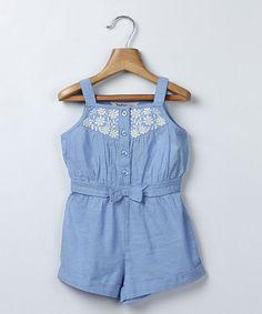 Light Blue Chambray Bow Romper - Infant & Toddler