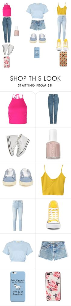 """The Schuyler sisters modern AU"" by lilycobain2002 on Polyvore featuring Boohoo, Topshop, Essie, Yves Saint Laurent, Frame, Converse, River Island, RE/DONE, Kate Spade and modern"